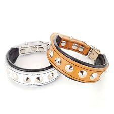 piel auténtica hecho a mano collar de perro, Con Broches, acolchado, MÁS ALTA