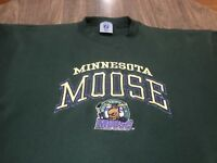 True Vintage 90s Minnesota Moose IHL Hockey XL Green Sweatshirt Stitched Logo