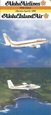 Airline Timetable - Aloha - 02/04/89 - B737 - Island Air DHC-6 cover
