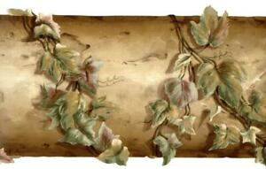 Waverly Rustic Leaves Ivy Leaf Vines on Brown Wood Wallpaper Border Wall Decor
