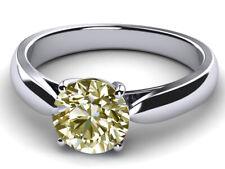 Diamond Solitaire 925 Silver Ring 3.52 Ct Vvs1>Round Yellow White Moissanite