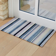 Mad Stripes Blue Grey Machine Washable Doormat Indoor Non-Slip Door Mat 75x45cm