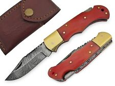6030 - HANDMADE DAMASCUS STEEL-POCKET KNIFE CAMEL BONE HANDLE WITH LEATHER POUCH