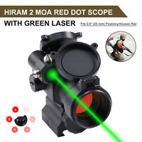 Hiram  2 MOA Red Dot Sight Rifle Scope with Integrated Green Laser Sight & Riser