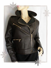 Magnifique Blouson Fantaisie Simili Cuir Marron Orice Style Taille XL Neuf