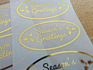 Noël Saisons Salutations Autocollants Doré sur Transparent Étiquettes Cartes Art