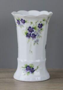 Eschenbach Dekor Veilchen Viola Vase Blumenvase Tischvase Höhe ca. 14,5 cm TOP