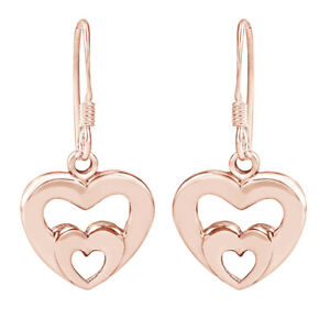 New Twin Hearts Love Symbol 14K Rose Gold Over Dangle Earrings Valentine Gifts