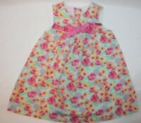 Laura Ashley Girls Floral Dress Size 24 Months Pink blue Sleeveless Bow Flower