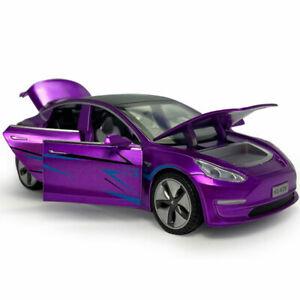 1:32 Tesla Model 3 Model Car Diecast Toy Collection Sound & Light Purple Kids