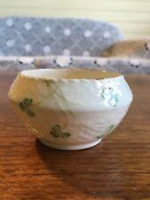 Vintage Belleek Irish Porcelain Shamrock Sugar Bowl