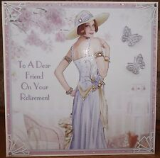 HANDMADE PERSONALISED ART DECO RETIREMENT FRIEND CARD WITH A LADY IN LILAC