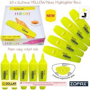 DOLLAR Neon 5.0mm Chisel Tip YELLOW Fluorescent Highlighter Pens 3-Point Grip