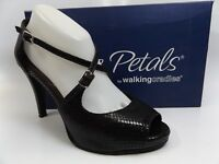 Rose Petals By Walking Cradles LISA Black CRINKL Heel Dress Shoes, SZ 9.0 M 7016