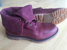 Timberland Authentics Suede Roll Top Size 8 Boots Roll Down Dark Burgundy 8306A