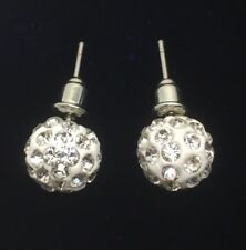 Trendy Unisex Shamballa Earrings with Clear Pave Swarovski Crystals 10mm