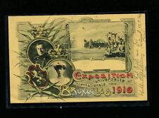 Belgium RARE USED 1910 Brussels World Expo Postal Card Michel 51-I w/Vignette