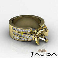 Diamond Princess Semi Mount Engagement Ring Pave Setting 18k Yellow Gold 1.25Ct