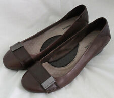 Hush Puppies Size 8.5 Shoes Womens Low Wedge Heel Leather Brown Buckle