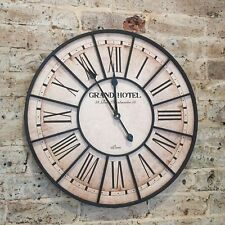 60cm Decor French Provincial Rustic Wrought Iron Hampton Wood Metal Wall Clock