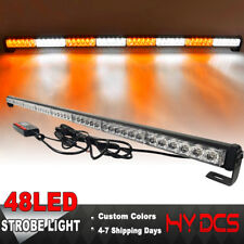 47 INCH 48 LED Strobe Lights Bar Emergency Warning Traffic Advisor Amber White