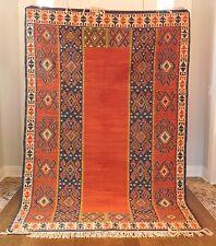 "8 x 5'5"" Antique Vintage Turkish Caucasian Kilim Kurdish Rug Fringe Red Blue 100"