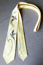 Men's Necktie Pilgrim Cravat Custom Handpainted Pheasants  Silk  52 Yellow Tie