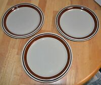 Set of 3 Vintage Contemporary Chateau Sienna Brown Stoneware Dinner Plates Retro