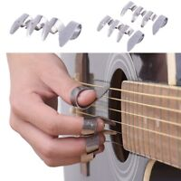 EE_ UK_ JN_ 4pcs Stainless Steel 1 Thumb And 3 Finger Nail Guitar Picks Plectrum