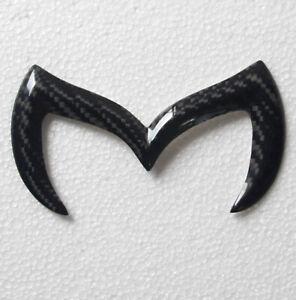 3D Carbon Fiber Black Bat M Side Door Rear Trunk Tailgate Badge Emblem for Mazda