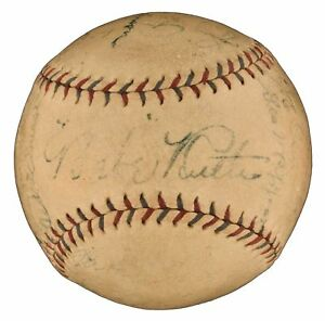 1927 NY Yankees WS Champs Team Signed Baseball Babe Ruth Lou Gehrig PSA DNA COA