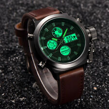 Mens Sport Military Army LED Watches Date Stainless Steel Quartz Wrist Watch #oi
