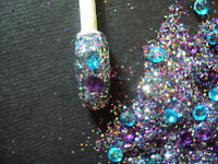 glitter mix acrylic gel nail art  BEJEWELLED  so pretty