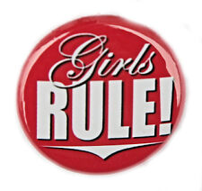 "GIRLS RULE - Fun Button Pinback Badge 1"" Punk Teen Pink"