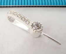 1x STERLING SILVER CZ CRYSTAL PEARL BAIL PIN PENDANT CONNECTOR #1874