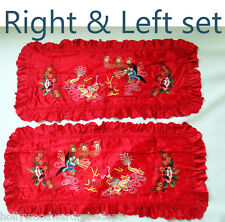 CHINESE red embroidered pillow cover sham wide long bed set phoenix dragon silk