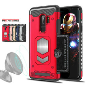 For Samsung Galaxy S9 / Plus Shockproof Card Slot Magnetic Heavy Duty Case Cover