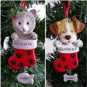 Personalised Pet Christmas Tree Decoration Dog Stocking Cat Stocking Ornament