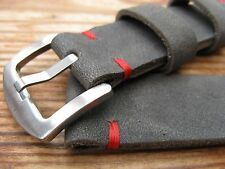 Vintage Handmade Thick Grey Soft Suede Leather Watchstrap 20mm for eg Seamaster