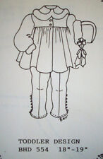 """2 piece toddler   18""""-  19""""  doll clothes pattern BHD 554"""