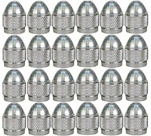 24 SILVER KNURL TIRE VALVE STEM CAPS FOR CHEVY GM FORD TOYOTA CARS TRUCKS SUVS