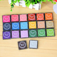 Beautiful Color Rubber teacher Stamp Craft Ink Pad Wood Fabric Kids Finger Paint