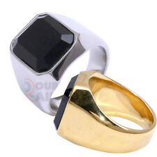 R5 MEN's Stainless Steel Black Onyx Gold Silver Ring Size 8-13