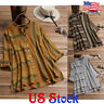 Women's Oversized Striped Button-down Retro Shirt Long Sleeve Blouse Tops Casual