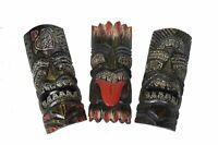 Set of 3 Polynesian Hawaiian Tiki Style Wall Masks Island Tropical Tribal Wood