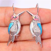925 Silver White Topaz Opal Bird Women Jewelry Dangle Drop Anniversary Earrings