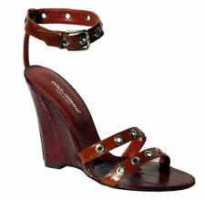 Dolce & Gabbana Leder Damen-Schuhe HIGH HEELS Wedges Keilabsatz Sandalen D&G 40