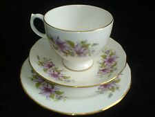 Royal Kent  'Dahlias' Pink/Purple BONE CHINA Cup/Saucer/Plate Trio Set x 1