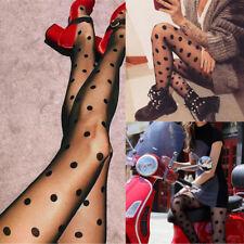 Women Sexy Mesh Black Polka Dot Perspective Gauze Pantihose Leggings Stocking