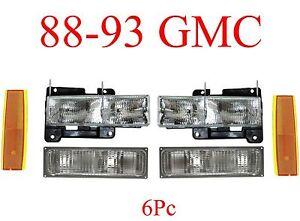 88 93 GMC 6Pc Head Light, Parking & Side Amber Lights Truck, Suburban, Yukon